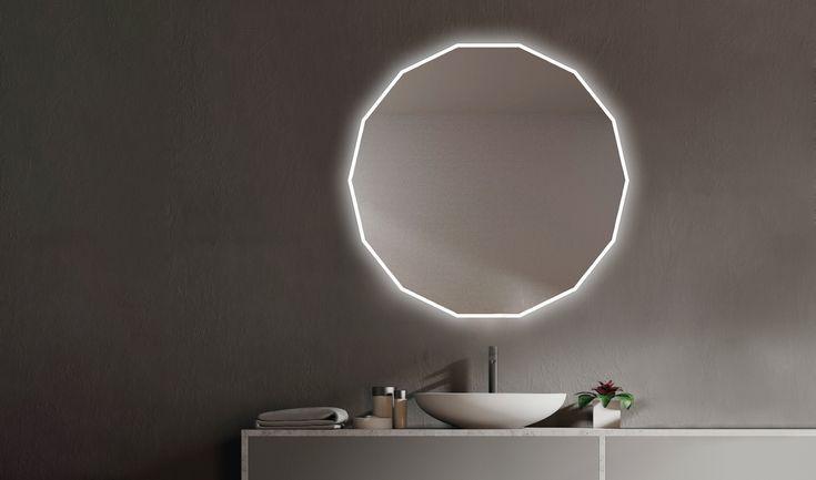 Espejo poligonal Urano | Espejo con luces led, Espejo con ...