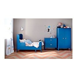 IKEA - BUSUNGE, Extendable bed, , Extendable, so it can be pulled out as your child grows.Solid wood slats offer firm posture support.