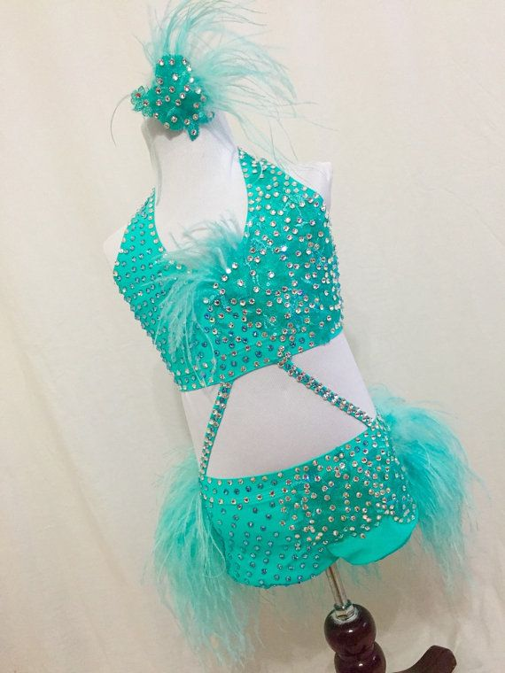 Aqua Jazz dance costume / modern performance / dance outfit / dance shorts