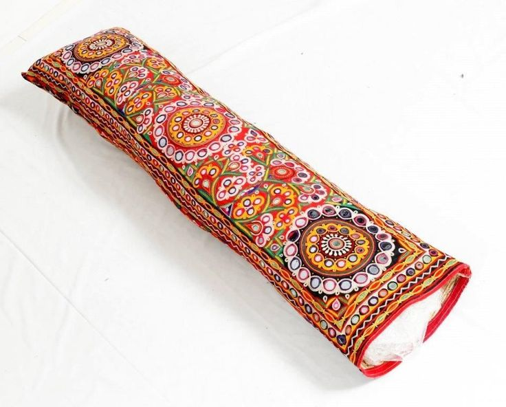 VINTAGE RABARI FINE HAND EMBROIDERY MIRROR  ETHNIC TRIBAL PILLOW CUSHION COVER  -  $46.00