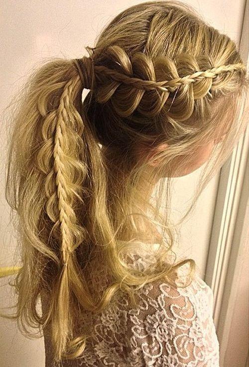 Prachtige paardenstaarten met vlechten! 15 prachtige kapsels voor lang haar!