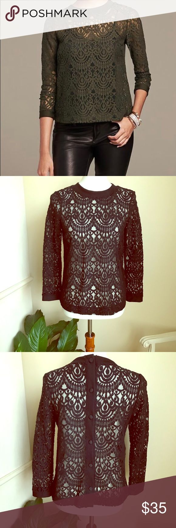 🎉HP🎉Banana Republic Black lace top Banana Republic long sleeve crew neck lace top in black with covered buttons in back. Never worn. NWOT. Banana Republic Tops Tees - Long Sleeve