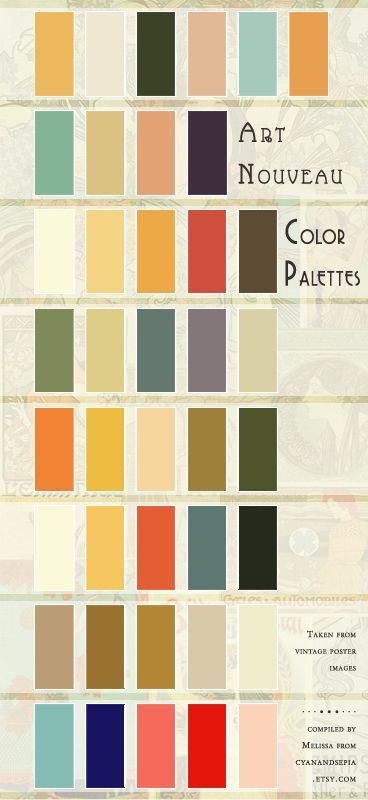 Authentic Art Nouveau Color Palettes, derived from vintage poster images. Compiled for my own purposes, but decided to share it, too! :)