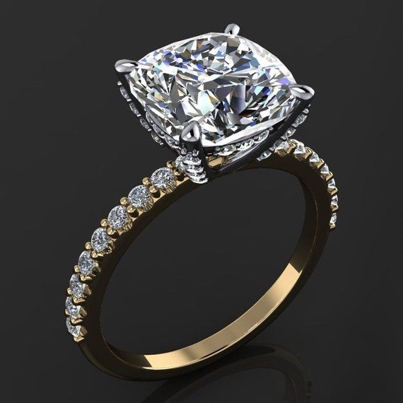 Taj Ring 3 Carat Cushion Cut Neo Moissanite Engagement Ring