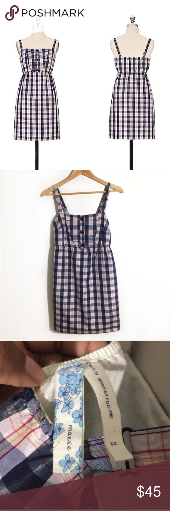 Anthropologie Maeve Outshine Taffeta Dress XS Anthropologie brand Maeve Outshine frock Dress. Size XS. Pretty plaid blue red and white grid pattern. Lined. Excellent preowned condition Anthropologie Dresses
