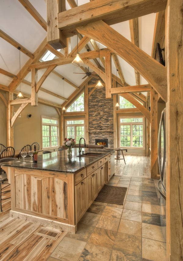 The Beautiful Timbers Frame This Kitchen Area.