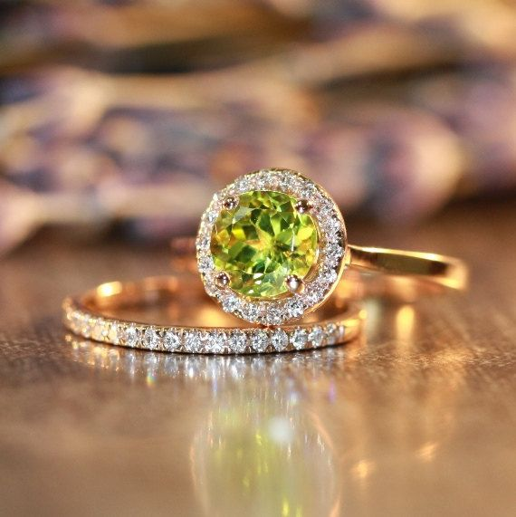 Petite Diamond Peridot Wedding Ring Set in 14k Rose Gold, 7x7mm Gemstone Peridot Engagement Ring and Skinny Diamond Band (Custom Made ok)