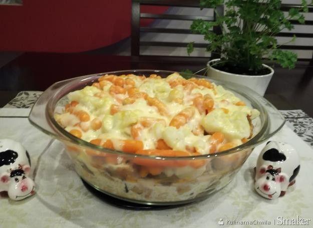 Zapiekanka ze schabem, ryżem oraz warzywami