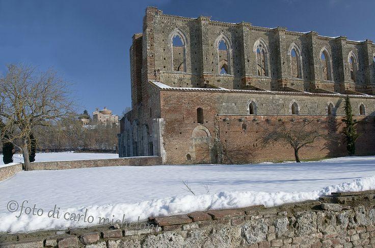 San Galgano under snow, Maremma Tuscany