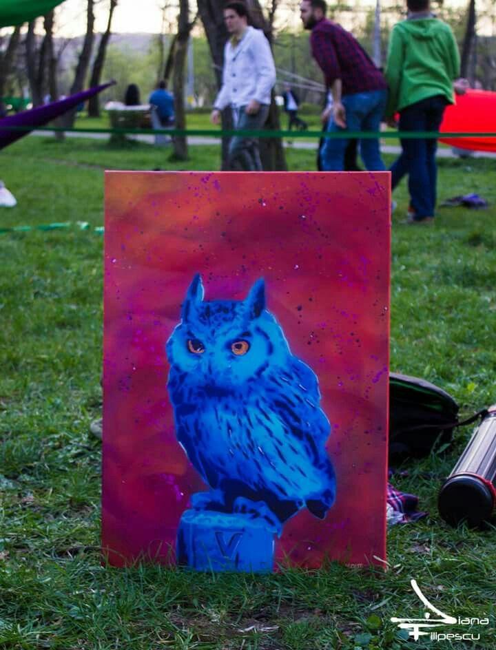 WISE AS AN OWL 4layers stencil on 50x70 cm Foto credit: Diana Filipescu