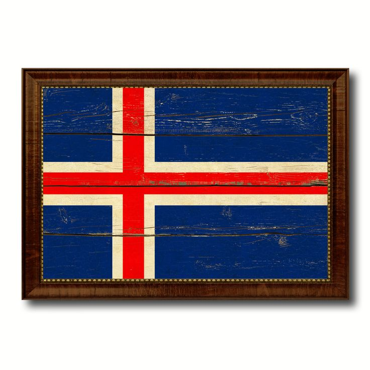Iceland Country Flag Vintage Canvas Print with Brown Picture Frame Home Decor Gifts Wall Art Decoration Artwork