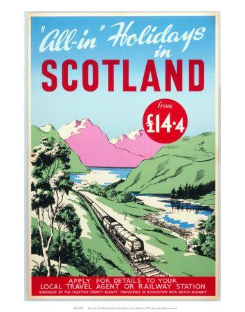 Reisposters Schotland (vintage kunst) Poster - bij AllPosters.be