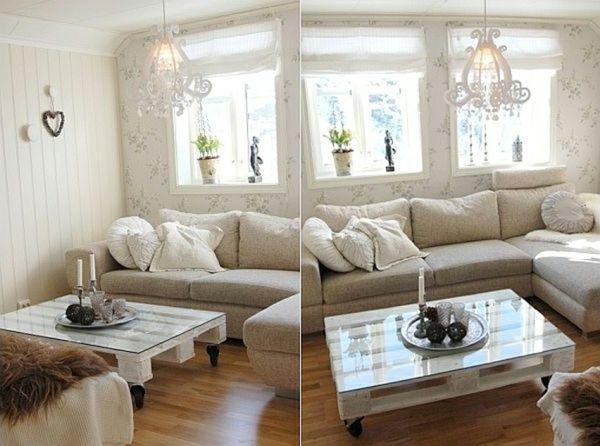 Europaletten recyceln – DIY Möbel aus Holzpaletten - holzpaletten idee couchtisch glas platte rollen wohnzimmer
