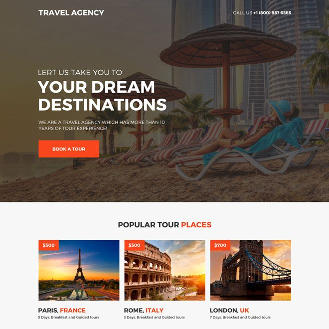 Travel Agency Call To Action Mini Landing Page Design Travel Example Travel Agency Website Travel Website Design Travel Agency