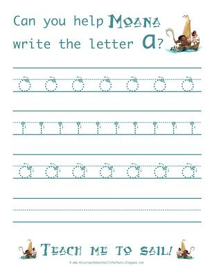 learn to write the letter a free moana handwriting worksheets this crazy homeschool life. Black Bedroom Furniture Sets. Home Design Ideas