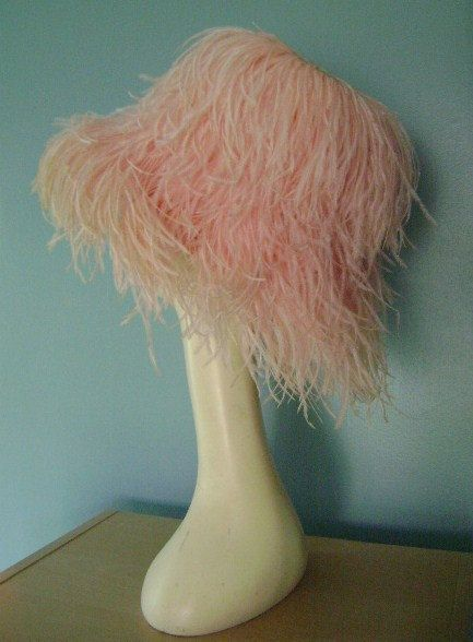 60s vintage 1960s FABULOUS PINK OSTRICH feather hat straw pastel pink dramatic hat
