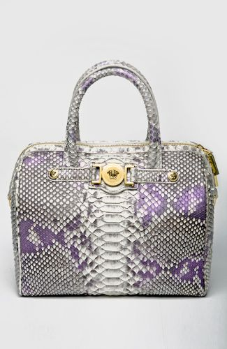 """""""Trunk"""" style snake bag, with zipper and top handles, golden medusa details. Can also be worn with detachable wide strap. Inner pockets. 25 cm width."""