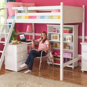 Maxtrix Kids Grand 3 / Giant 3 Full High Loft Bed with Long Desk and 3 1/2 Drawer Chest