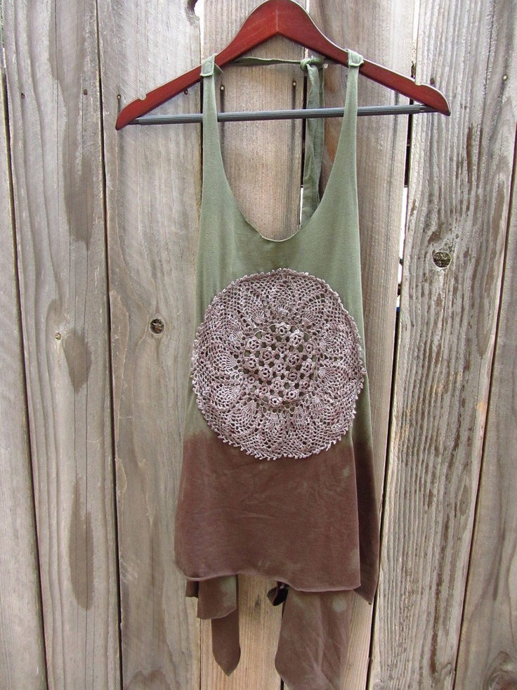 Refashioned Tshirt - Hand Dyed Apron Tunic Tank in Moss Green and Dark Brown - Womens Upcycled Clothing - One Size Fits Most. $42.00, via Etsy.