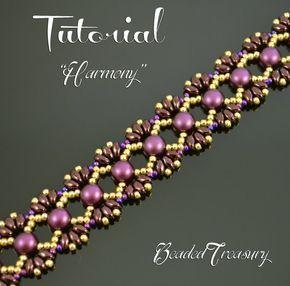 Harmony - beading tutorial, Cabochon MiniDuo bead pattern, beaded bracelet pattern, beadweaving, seed beads / TUTORIAL ONLY