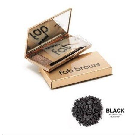 Fab Brows Black   De Fab Brows kits bevatten wenkbrauw poeder, 6 verschillende maten stencils, een duo applicator brush en een grote spiegel. De poeders zijn verkrijgbaar in 5 verschillende kleuren, geschikt voor iedere teint. Zes verschillende stencils geven u de keus uit een natuurlijke vorm, een iets dikkere look of een exotische look.