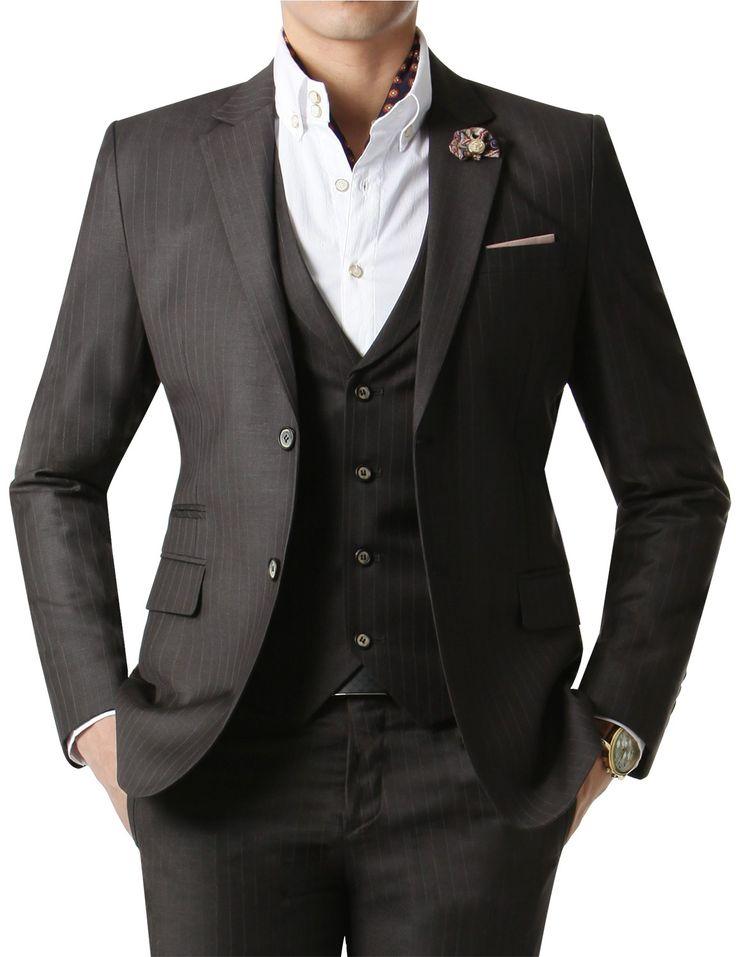 Doublju Men's 2 Button Suit Blazer Matte Dark Gray Stripe