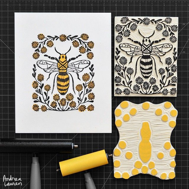 Andrea Lauren (@inkprintrepeat) | Finished carving and printing this new two-color honeybee block print yesterday. Many thanks for your many recent orders in my shop; this one has just been posted too, if you are interested! | Intagme - The Best Instagram Widget