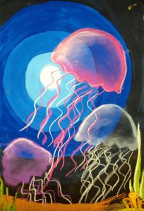 Create Art With Me: Jellyfish Value Lesson. Acrylic Paint & Soft PAstel - cool twist