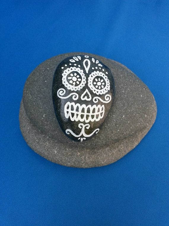 Hand painted stone, black and white candy skull design, day of the dead art, sugar skull artwork, halloween decoration or gift, gothic art