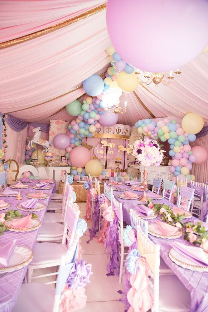 1st Birthday Party Ideas.Feast Your Eyes On This Gorgeous Carousel 1st Birthday Party