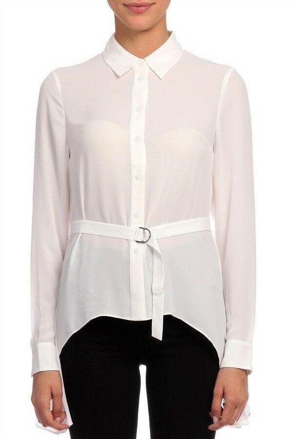 3b66dad62c033 Karen Millen Ivory Crepe Draped Formal Shirt Office Blouse Collared Top 8    10  KarenMillen  Blouse  Formal