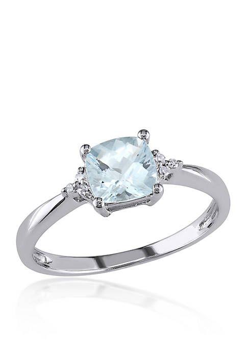 Belk Co 10k White Gold Aquamarine And Diamond Ring Diamond Fashion Rings Aquamarine Engagement Ring Twig Engagement Ring