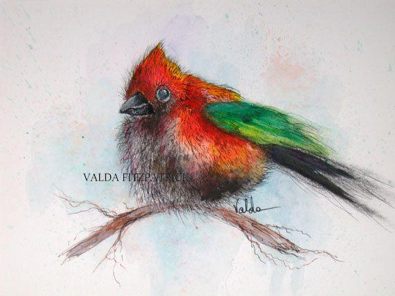 Sparrow 5x7 print of original watercolor bird art gift