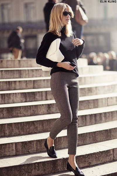 Proportions: fitted sweater, skinny ankle pant, open flat, slouchy leather bag