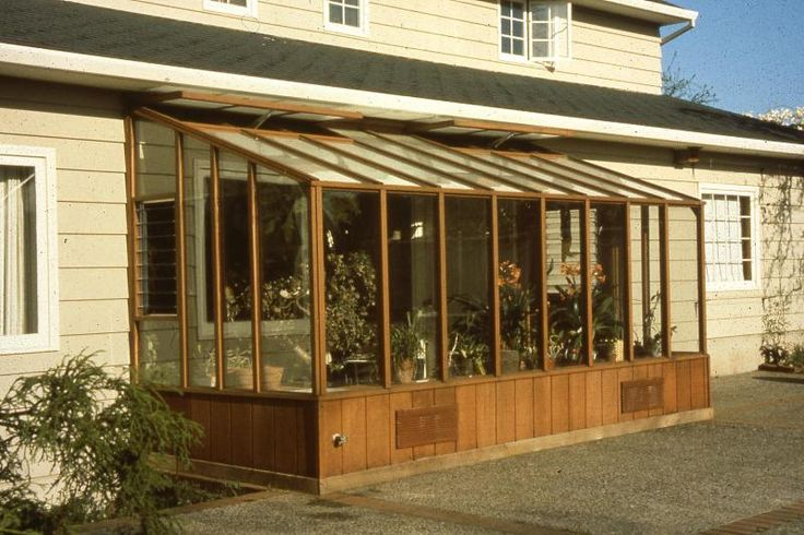 7x14 garden sun room greenhouse built under the eave of for Rooms under the garden