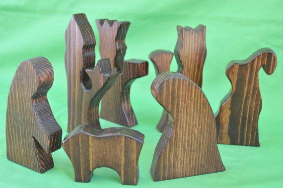 Nativity Set Large Nativity Set Wood Nativity Set by JJLadells