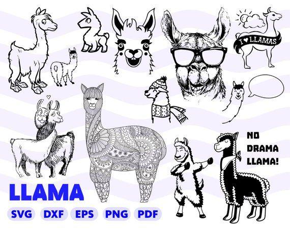 Llama Svg Bundle Llama Silhouette Llama Printable Llama Svg Cricut Llama Clipart Alpaca Svg Ll Diy Vinyl Projects Cricut Svg