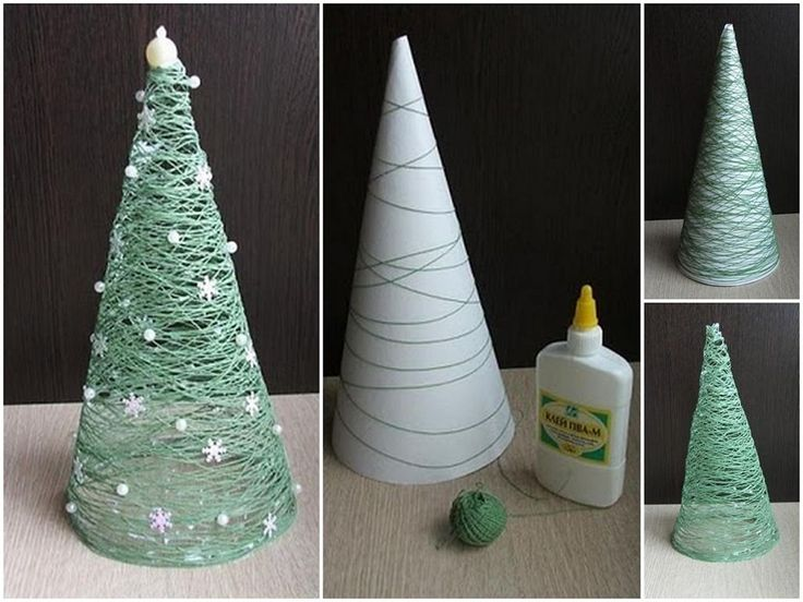making Christmas trees with green yarn and glue