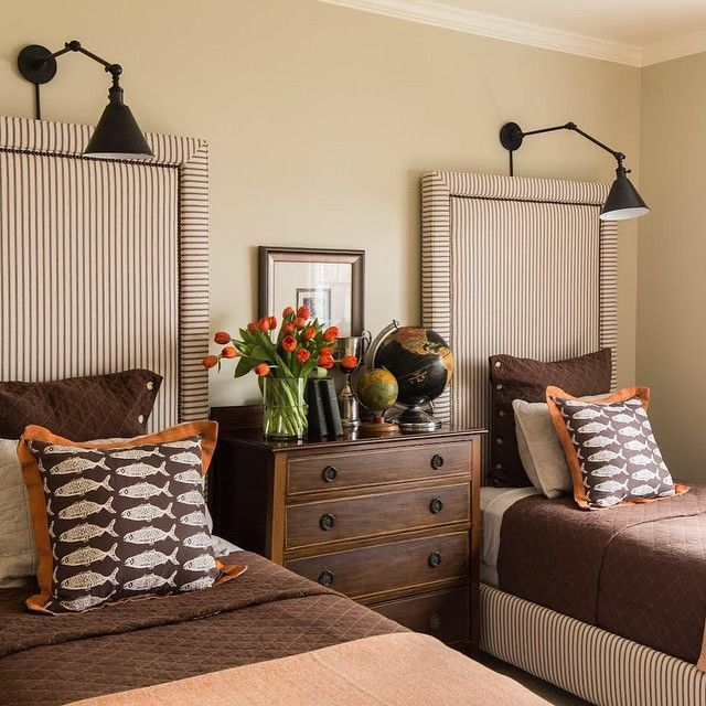 sconces, twin headboards