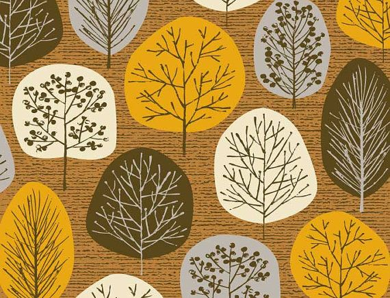 """""""Lollipop Trees Autumn"""" limited edition giclee print by Eloise Renouf. Captures crisp Autumn days, with little trees on a subtley textured background. Colours used in this print include chocolate, tan brown, cream, grey and orange. All my images start life as something hand created, either painted, printed or drawn. My images are then digitally arranged and coloured."""