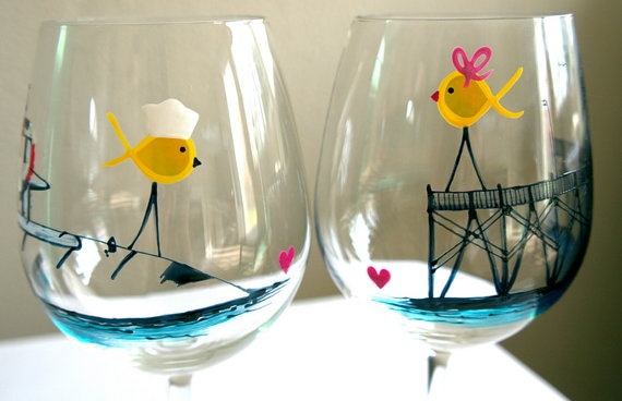 Navy #submarine painted wine glasses (love) Lovebirds: one waiting on the pier the other on the sub