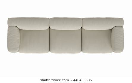 Modern fabric sofa , top view on white background , 3D ...