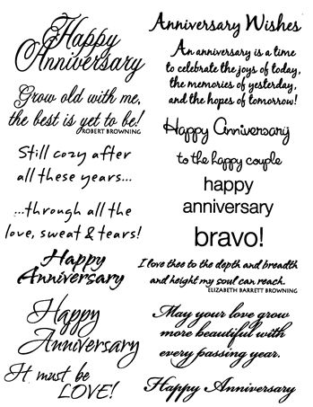 "Anniversary - $6.00  	 Rubz by My Sentiments Exactly!  These Anniversary sentiments are perfect for the inside and/or outside of your cards!!  The sayings are this sheet are fitting for couples who have only been married a short time or those celebrating a golden anniversary!   There are a variety of sayings using a variety of fonts and styles.   Easy to apply and position as you like.  One sheet of rub-ons approximately 8"" by 5"" per package"