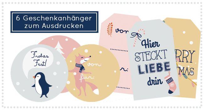 Weihnachtliche Gratis-Geschenkeanhänger zum Ausdrucken via www.makerist.de/magazin