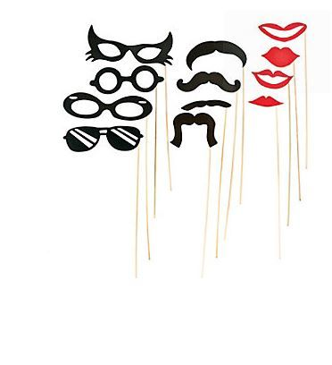 "Stick Costume Props (12) .  Have fun and try on a moustache, lips or glasses with these awesome Stick Costume Props.  Play a game of ""Who am I"" or throw an impromtu costume party! These costume props are fun for just about any age group from the young to the young at heart! Put a smile (and glasses and a mustache) on your guest's faces!  Includes 12 x 7.62 cm - 15.2 cm cardboard cutouts on 30.5 cm bamboo sticks."