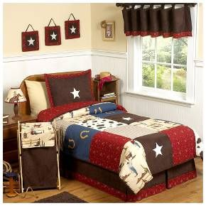 Bring a piece of the wild west into your little one's room with the Wild West Bedding Collection. If your son or daughter loves cowboy décor, then this is the collection for them. Iconic cowboys, cow-hide-style prints, horseshoes, sheriff stars, faux-suedes and horses are sprinkled throughout the collection along with red, brown and blue fabrics. This collection is realistic looking and isn't cartoonish or too young, so it's perfect for an older kid and will...
