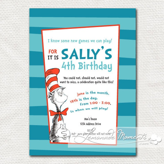 Invitation Wording --i'm so excited about a Dr. S party I think I'm going to enjoy it more than the children!--   For celebrating   Pinterest   Dr seuss ...