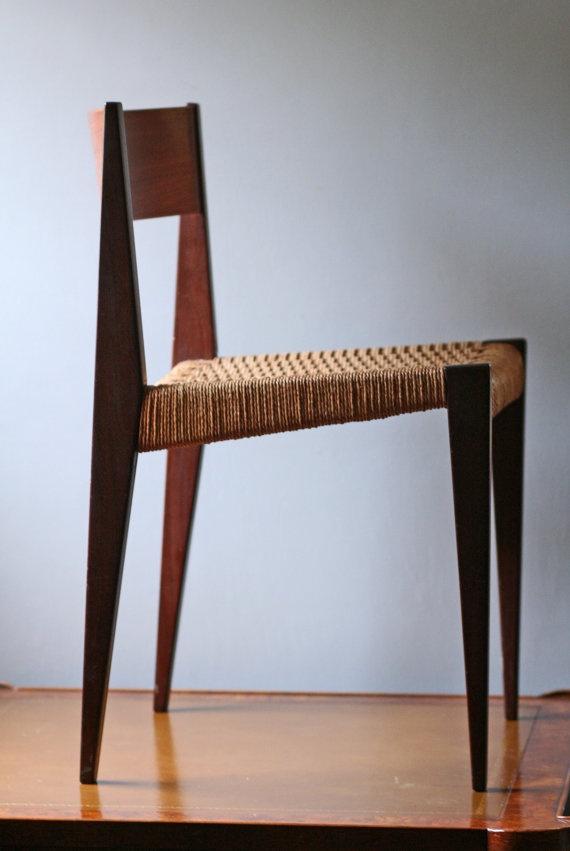 Fritz Hansen Danish chair / teak with woven rush seat