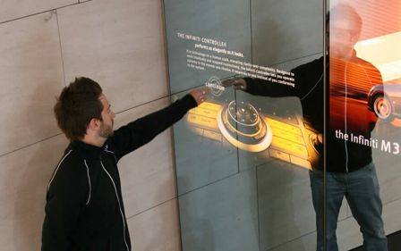 The Ultimate Hi Tech and Interactive Mirrors The Infiniti Interactive Mirror features three 8′ high by 3.5 ' wide panes of mirrored glass placed side by side where the projected image with the users image meshes and makes for a surreal experience.
