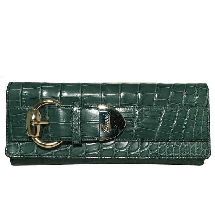 Gucci Green Alligator Wallet Clutch | From a collection of rare vintage clutches at https://www.1stdibs.com/fashion/handbags-purses-bags/clutches/
